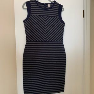 Merona navy and grey fitted dress